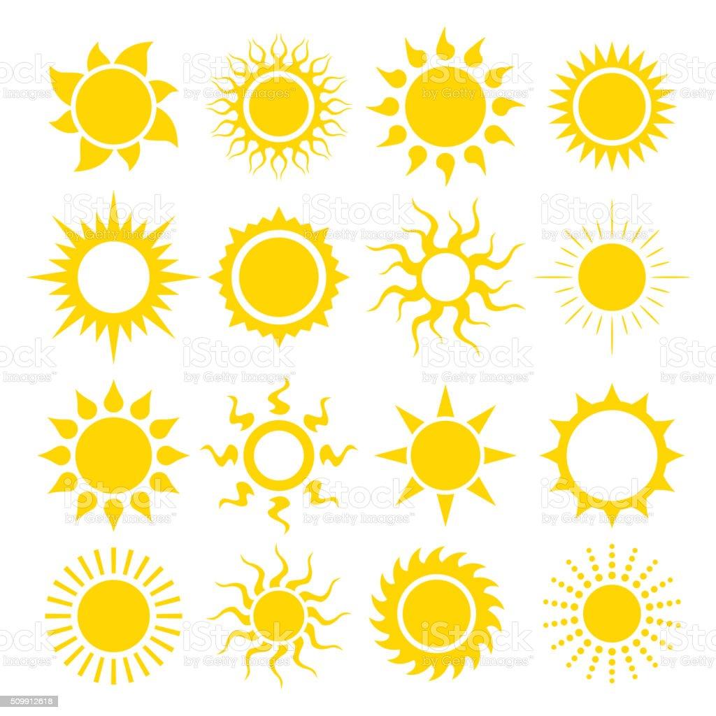Conjunto de ícones do vetor de sol - ilustração de arte em vetor