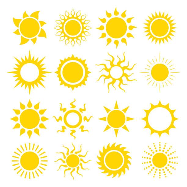 sun icon set vector vector art illustration