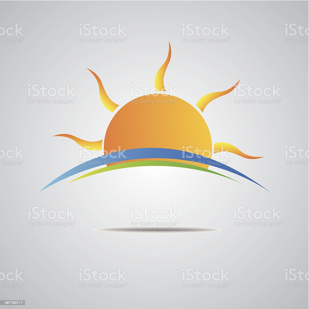 Sun icon vector horizon design vector art illustration