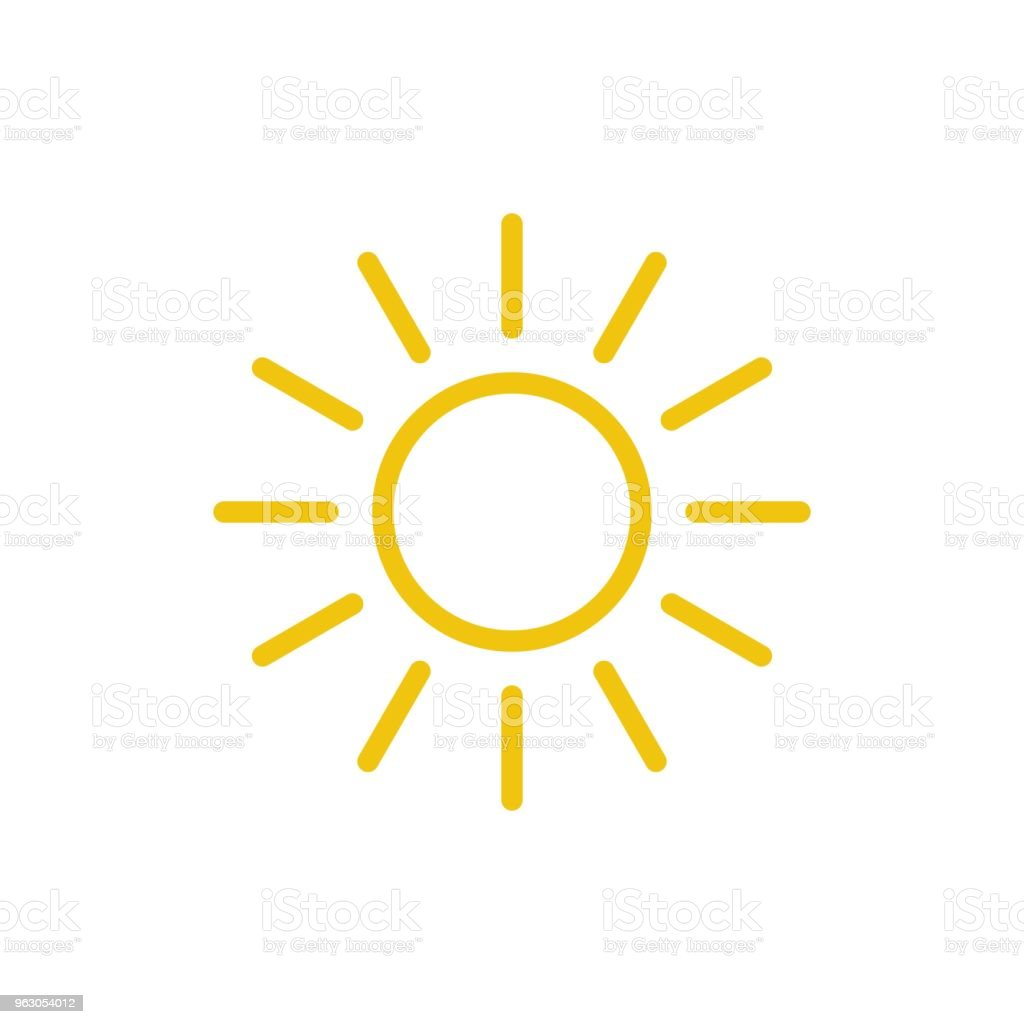 Sun Icon Vector Line Summer Symbol Trendy Flat Outline Ui Sign ...