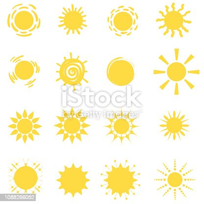 Sun icon vector set
