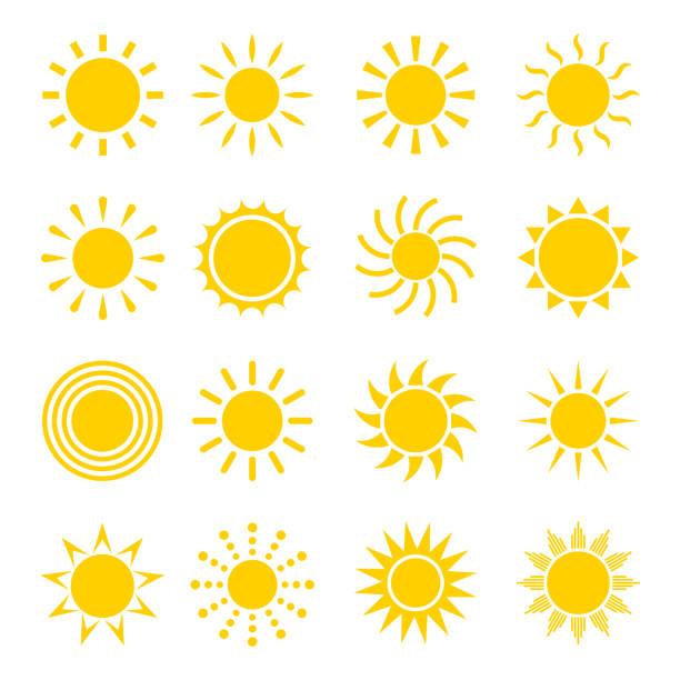 bildbanksillustrationer, clip art samt tecknat material och ikoner med solen vector ikonuppsättning - sun