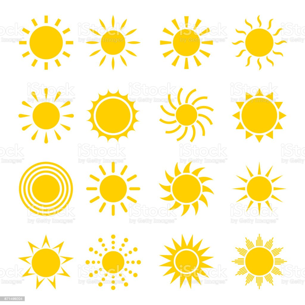 Sun icon vector set vector art illustration