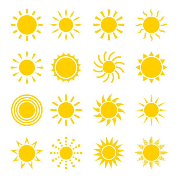 stockillustraties, clipart, cartoons en iconen met zon vector pictogramserie - zonnig