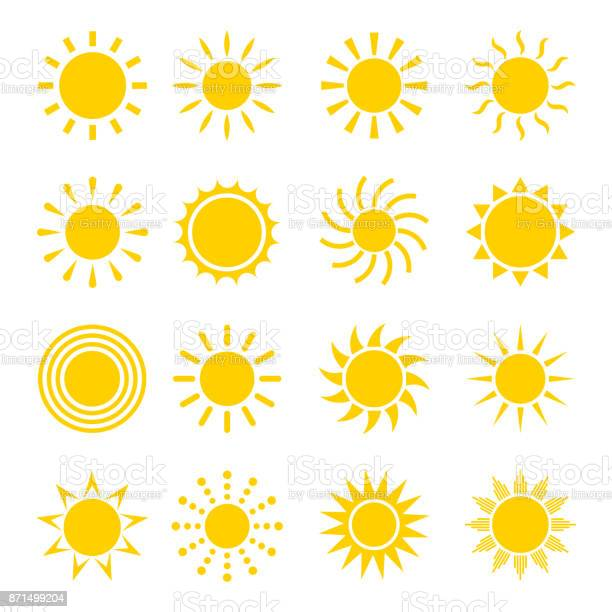 Sun icon vector set. Concept icons of the sun in a flat style. Different icons for sun . Collection of sun icons isolated on white background. Sun icon design.