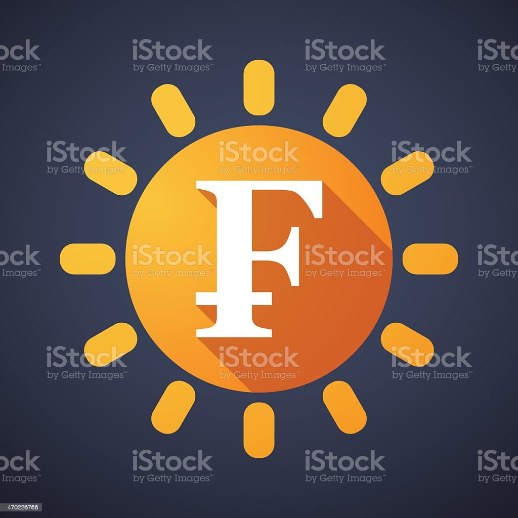 Sun icon with a currency sign vector art illustration
