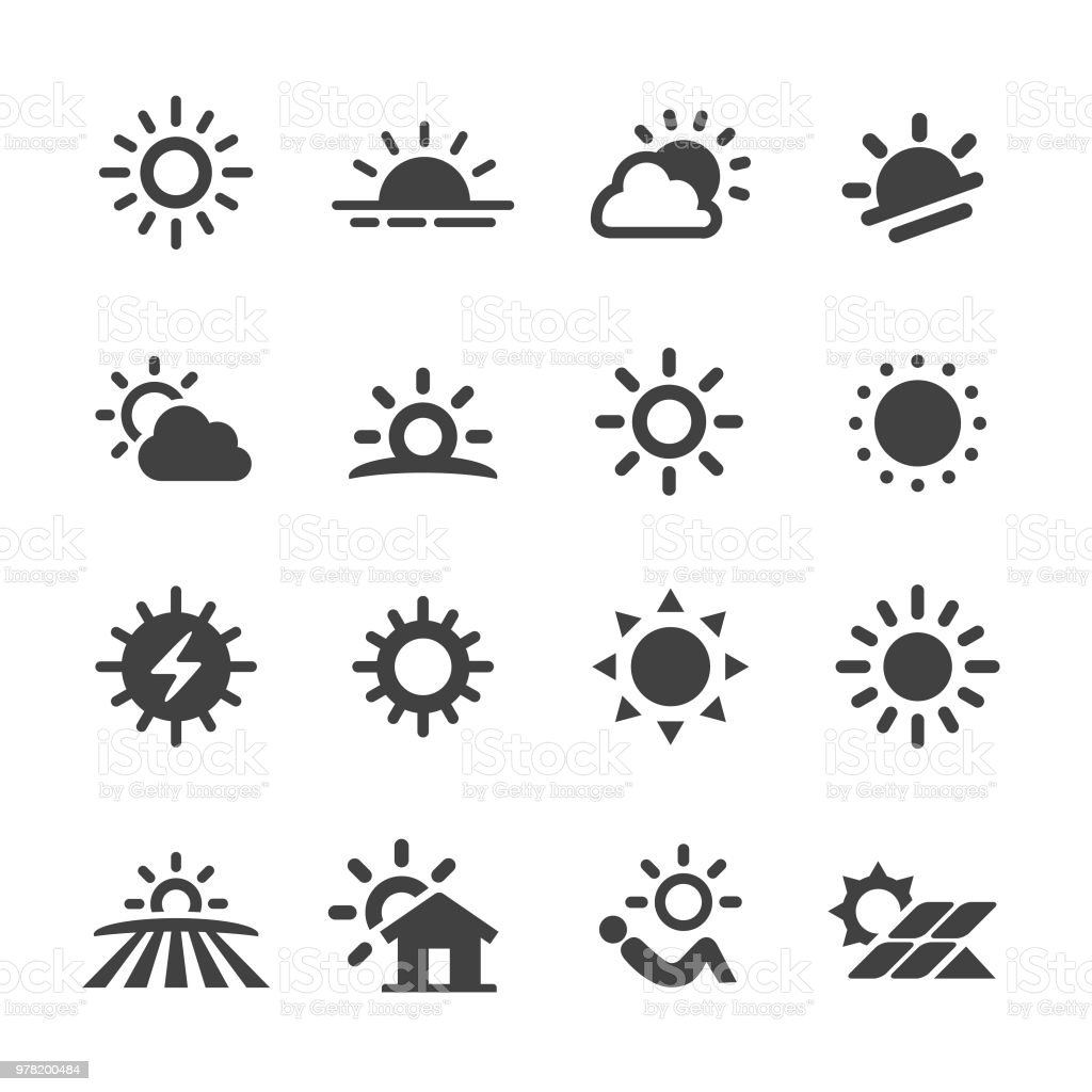 Ícones de sol - série Acme - Vetor de Brilhante - Luminosidade royalty-free