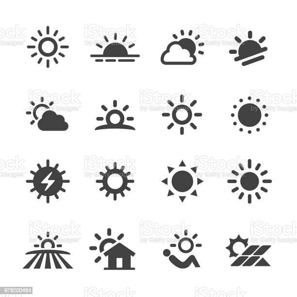 Vetores de Ícones De Sol Série Acme e mais imagens de Brilhante - Luminosidade