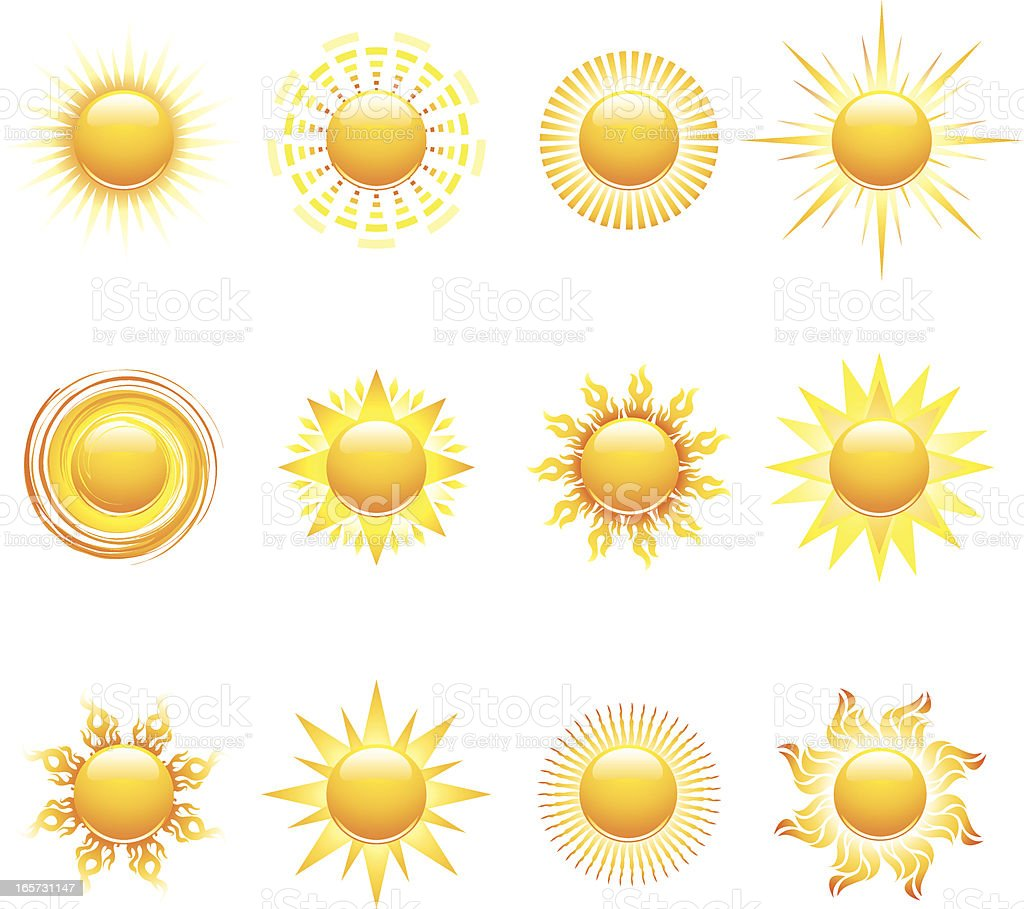 Sun Icons and Design Elements royalty-free stock vector art