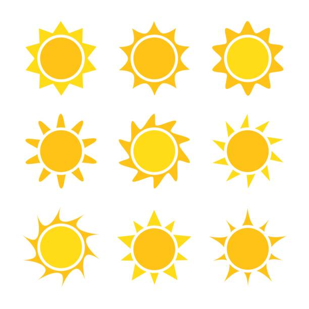 Sun icons collection vector art illustration