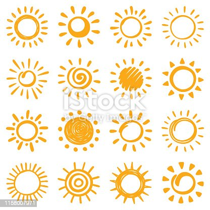 Sun, vector design elements. Hand drawn icons set on a white background.