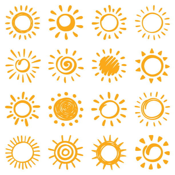 Sun icons set. Hand drawn illustration Sun, vector design elements. Hand drawn icons set on a white background. sun stock illustrations