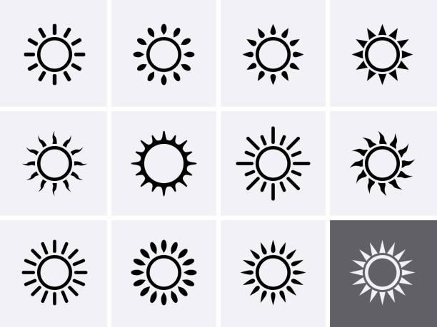 ilustrações de stock, clip art, desenhos animados e ícones de sun icons set - sol