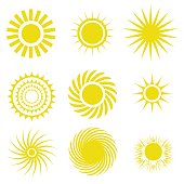 illustration with yellow sun icons set on white background