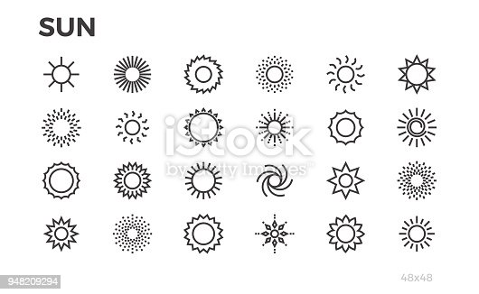 Sun icons. Star, sunny weather, rays and other elements. Editable line.