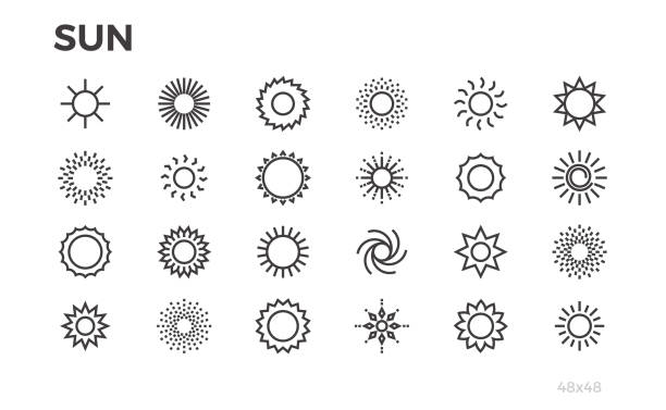 sun icons. star, sunny weather, rays and other elements. editable line. - promień słońca stock illustrations