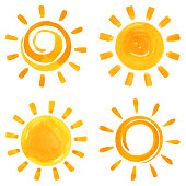 Vector watercolor set of sun icons