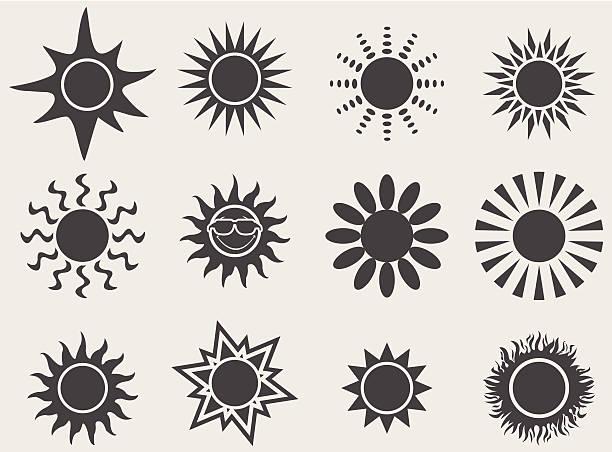 illustrazioni stock, clip art, cartoni animati e icone di tendenza di icone sole - flare