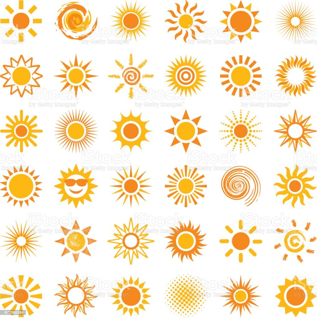 Sun icons vector art illustration