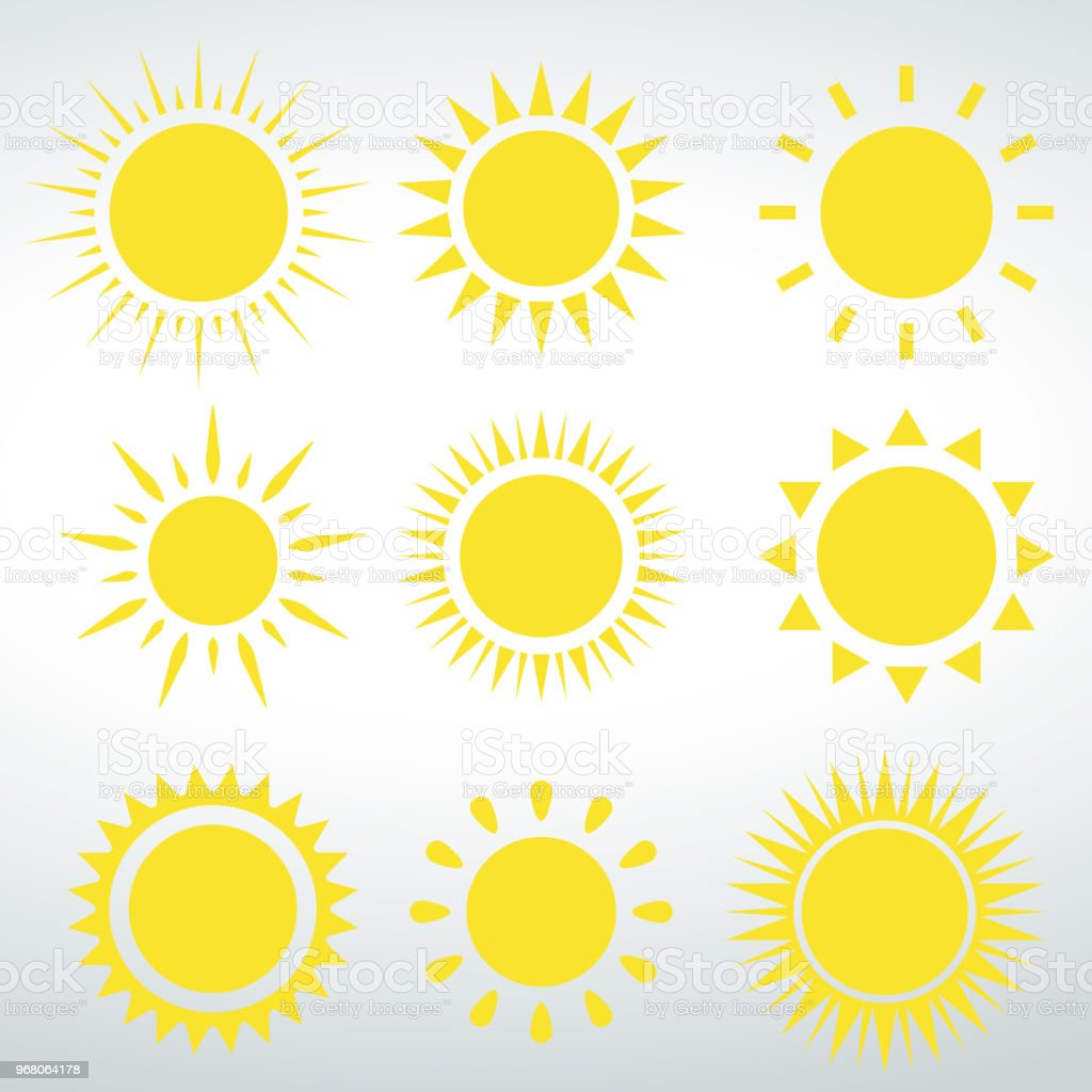 Sol de ícones vetor vector isolado em um fundo branco - Vetor de Abstrato royalty-free