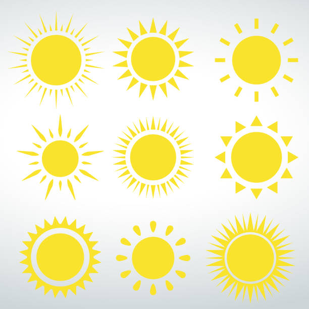 Sun icons vector isolated vector on a white background Sun icons vector isolated vector on a white backround. sunlight stock illustrations
