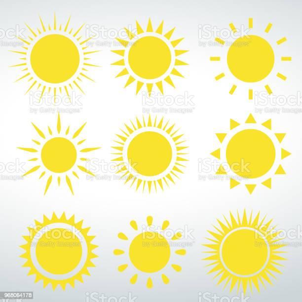 Vetores de Sol De Ícones Vetor Vector Isolado Em Um Fundo Branco e mais imagens de Abstrato