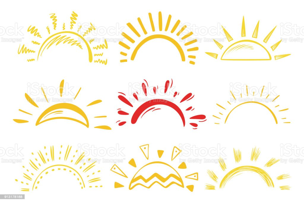 Sun Icons Vector Set. Doodle Different Suns royalty-free sun icons vector set doodle different suns stock illustration - download image now