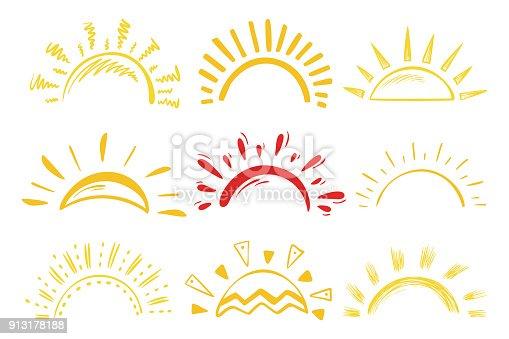 Sun Icons Vector Set. Doodle Different Suns