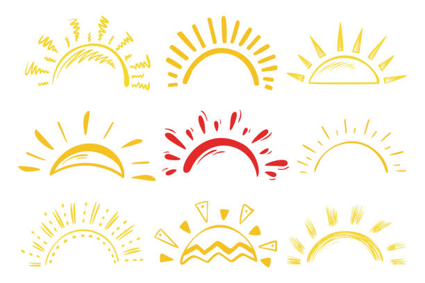 sun icons vector set. doodle different suns - zachód słońca stock illustrations