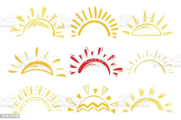 Solen Ikoner Vektor Set Doodle Olika Solar-vektorgrafik och fler bilder på Abstrakt