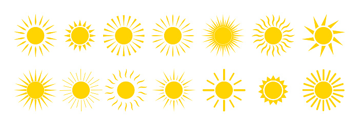 Sun icons. Yellow summer sunrise and sunset. Cartoon graphic sunshine symbol. Sunny morning with sunlights. Set of orange circles with bright rays. Heat weather. Logo of nature energy. Vector