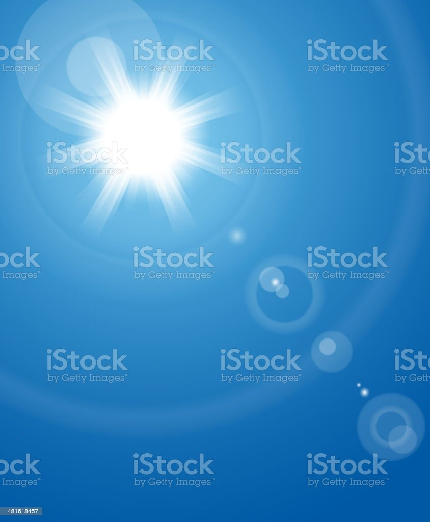 Sun in sky vector art illustration