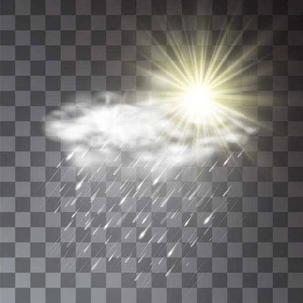 illustrazioni stock, clip art, cartoni animati e icone di tendenza di sun in the clouds during rainy weather concept on transparent background. thunderstorm or depressive autumn sky illustration. hailstorm or downpour precipitation for forecast design. - grandine