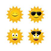 sun with emoticons flat style design isolated white background set