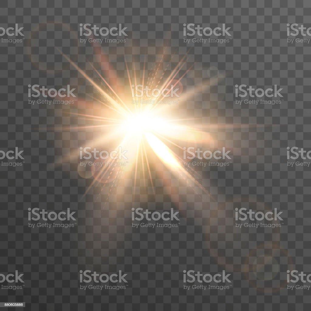 Sun. Lens flare. vector art illustration