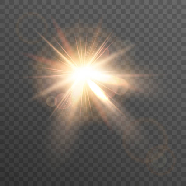 stockillustraties, clipart, cartoons en iconen met sun. lens flare. - straatlamp