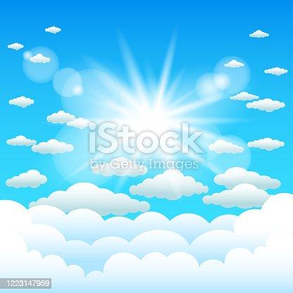 istock sun lights and cartoon clouds sky 1223147959