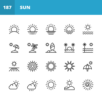 Sun Line Icons. Editable Stroke. Pixel Perfect. For Mobile and Web. Contains such icons as Sun, Sunshine, Summer, Holiday, Beach, Climate, Environment, Sky, Energy, Nature, Tropics, Hawaii, Travel, Warm, Hot, Heat, Sunlight.