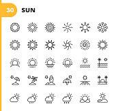 30 Sun Outline Icons. Sun, Sunshine, Summer, Holiday, Beach, Climate, Environment, Sky, Energy, Nature, Tropics, Hawaii, Travel, Warm, Hot, Heat, Sunlight.
