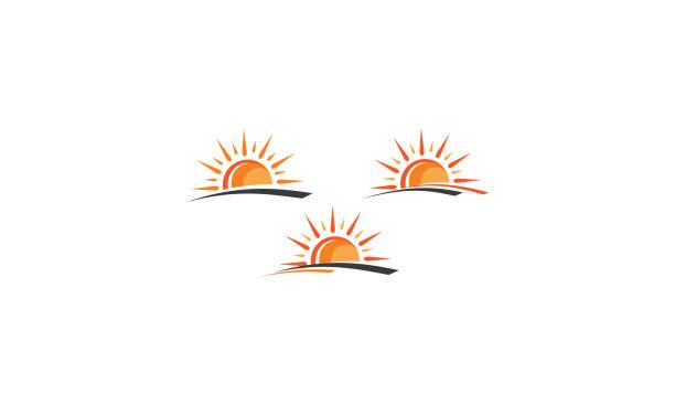 sun logo vector icon - sunrise stock illustrations