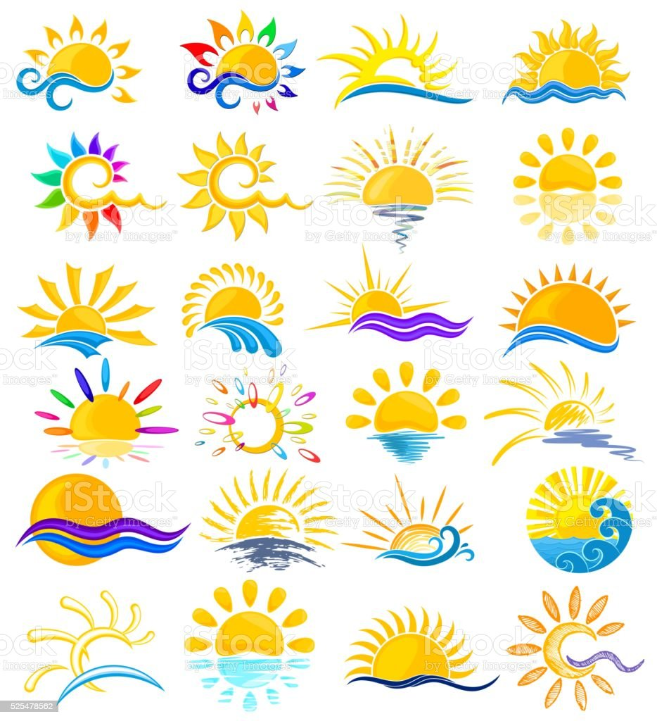 Sun Logos With Sea Stock Vector Art More Images Of Abstract