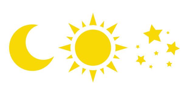 太陽, 月亮和星星, 向量圖示的集合。黃色天氣符號 - 月亮 幅插畫檔、美工圖案、卡通及圖標