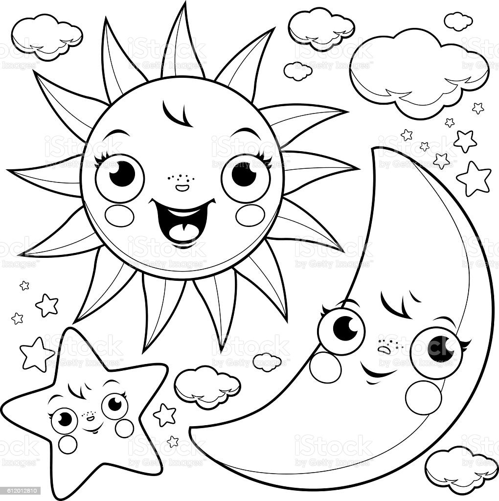 Sun Moon And Stars Coloring Page Stock Vector Art More Images of