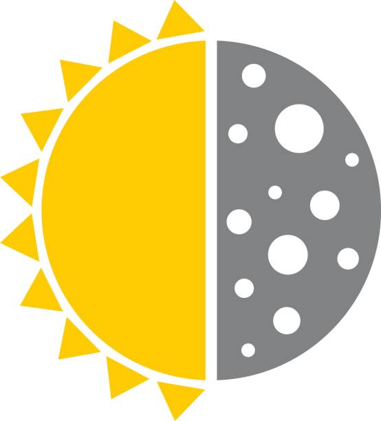 Sun Moon Icon Vector illustration of a half sun half moon icon. halved stock illustrations