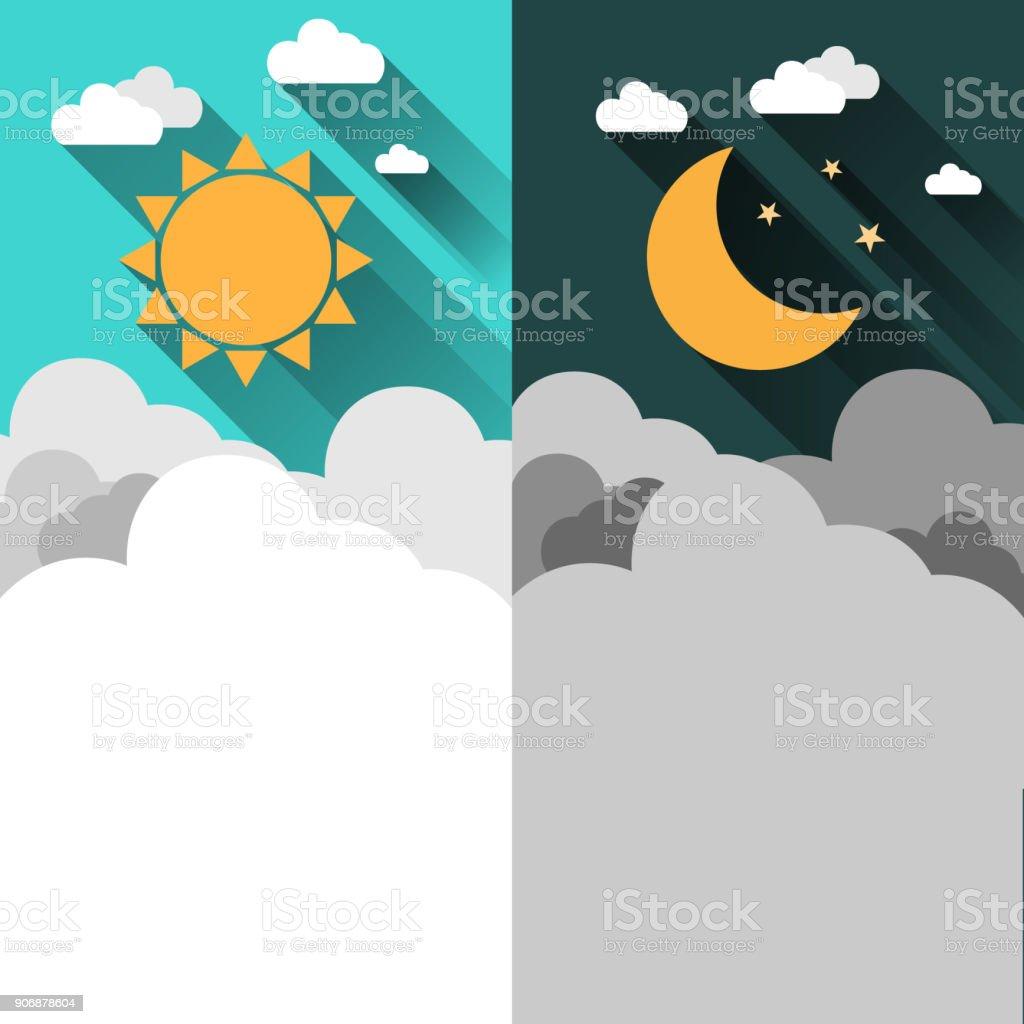Gunes Ay Yildiz Ve Bulutlar Afis Gece Gunduz Saat Kavrami Vektor