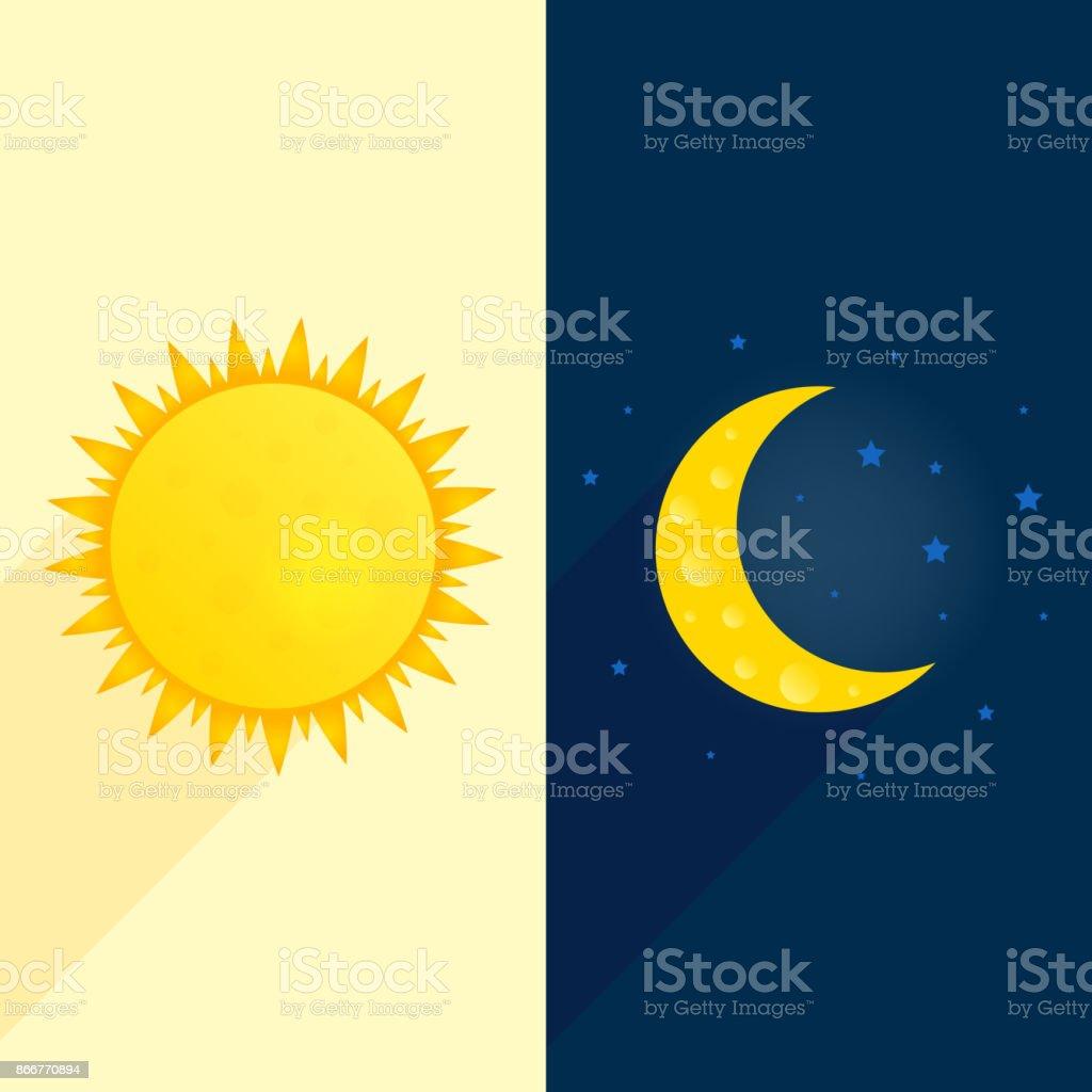 Sol, lua, estrelas bandeira. Dia e noite vetor de conceito de tempo. Ilustração do folheto ensolarado. Fundo de clima. Previsão de cartaz do dia de conceito - ilustração de arte em vetor