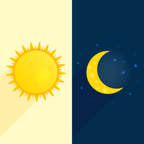 sun, moon, stars banner. day and night time concept vector. sunny flyer illustration. weather background. forecast concept daytime poster - moon stock illustrations, clip art, cartoons, & icons