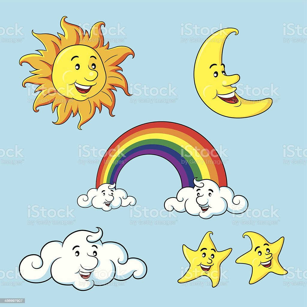 sun moon stars clouds rainbow cartoon stock vector art more images