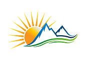 Sun Mountains symbol Vector illustration in white background