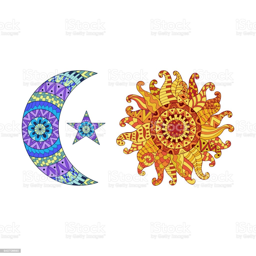 Sun New Moon And Star Vector Symbols Stock Vector Art More Images